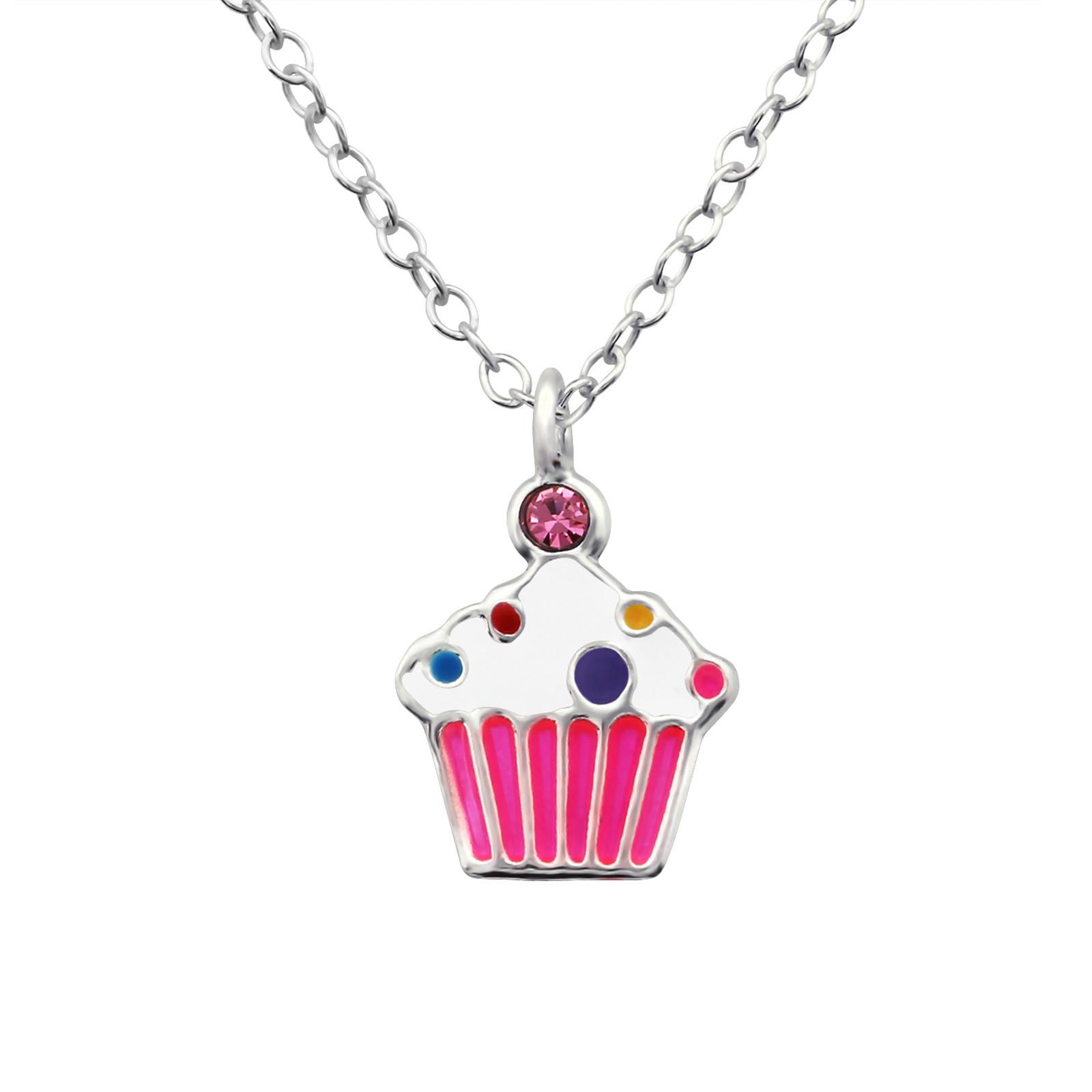 Detský strieborný náhrdelník muffin-211699-31