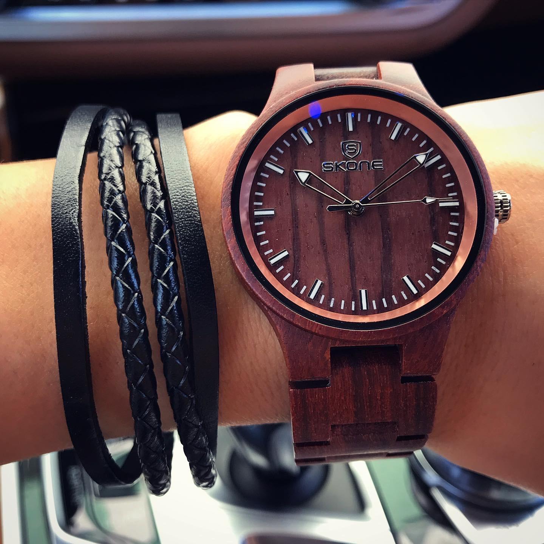 Drevené hodinky SKONE-193805-31
