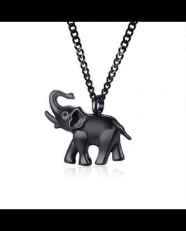 Oceľový náhrdelník čierny sloník