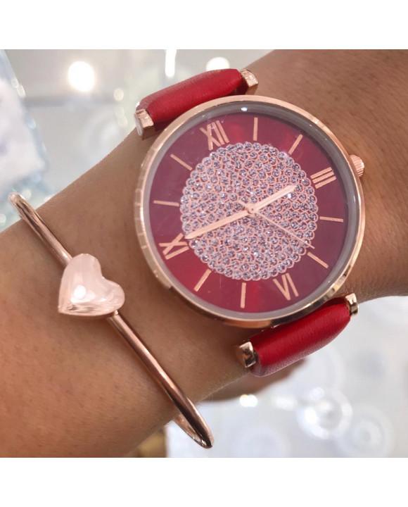 Dámske červené hodinky-198301-20