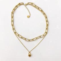 Boho oceľový náhrdelník s príveskom-248318-03